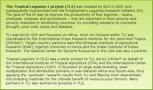 The Tropical Legumes I project (TLI) was initiated by GCP in 2007 and subsequently incorporated into the Programme's Legumes Research Initiative (RI). The goal of the RI was to improve the productivity of four legumes – beans, chickpeas, cowpeas and groundnuts – that are important in food security and poverty reduction in developing countries, by providing solutions to overcome drought, poor soils, pests and diseases. TLI was led by GCP and focussed on Africa. Work on chickpea within TLI was coordinated by the International Crops Research Institute for the Semi-Arid Tropics (ICRISAT). Target-country partners were the Ethiopian Institute of Agricultural Research (EIAR), Egerton University in Kenya and the Indian Institute of Pulses Research. The National Center for Genome Resources in the USA was also a partner. Tropical Legumes II (TLII) was a sister project to TLI, led by ICRISAT on behalf of the International Institute of Tropical Agriculture (IITA) and the International Center for Tropical Agriculture (CIAT). It focussed on large-scale breeding, seed multiplication and distribution primarily in sub-Saharan Africa and South Asia, thus applying the 'upstream' research results from TLI and filtering them downstream into breeding materials for the ultimate benefit of resource-poor farmers. Many partners in TLI also worked on projects in TLII.