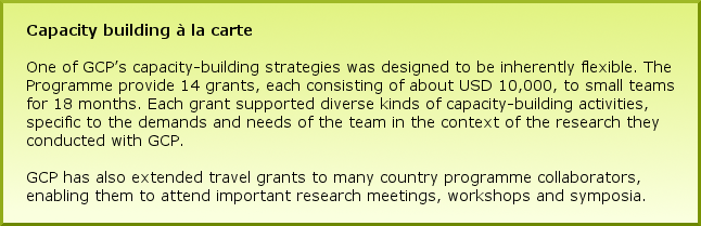 Capacity building à la carte One of GCP's capacity-building strategies was designed to be inherently flexible. The Programme provide 14 grants, each consisting of about USD 10,000, to small teams for 18 months. Each grant supported diverse kinds of capacity-building activities, specific to the demands and needs of the team in the context of the research they conducted with GCP. GCP has also extended travel grants to many country programme collaborators, enabling them to attend important research meetings, workshops and symposia.