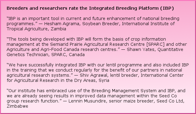 "Breeders and researchers rate the Integrated Breeding Platform (IBP) ""IBP is an important tool in current and future enhancement of national breeding programmes."" –– Hesham Agrama, Soybean Breeder, International Institute of Tropical Agriculture, Zambia ""The tools being developed with IBP will form the basis of crop information management at the Semiarid Prairie Agricultural Research Centre [SPARC] and other Agriculture and Agri-Food Canada research centres."" –– Shawn Yates, Quantitative Genetics Technician, SPARC, Canada  ""We have successfully integrated IBP with our lentil programme and also included IBP in the training that we conduct regularly for the benefit of our partners in national agricultural research systems."" –– Shiv Agrawal, lentil breeder, International Center for Agricultural Research in the Dry Areas, Syria ""Our institute has embraced use of the Breeding Management System and IBP, and we are already seeing results in improved data management within the Seed Co group research function."" –– Lennin Musundire, senior maize breeder, Seed Co Ltd, Zimbabwe"